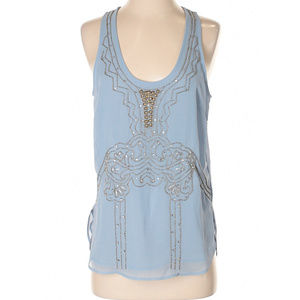 Light blue beaded tank top.